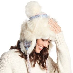 Free People White Blue Melt My Heart Trapper Hat